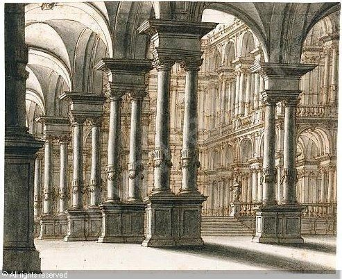 Architectural Fantasy Of A Palace Courtyard Sold By