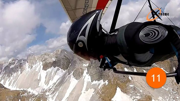 15 #HandGliding #Extremesports | The Alps  In this aerial sport, the rider harnessed to a glider-foot launches himself off a cliff into the sky. The equipment requires one to shift his body weight in order to control his direction and speed. The most thrilling part of this sport is its location. #TheAlps look awesome from above, but the rider is at a risk of running into a mountain slope or get caught in a crosswind.