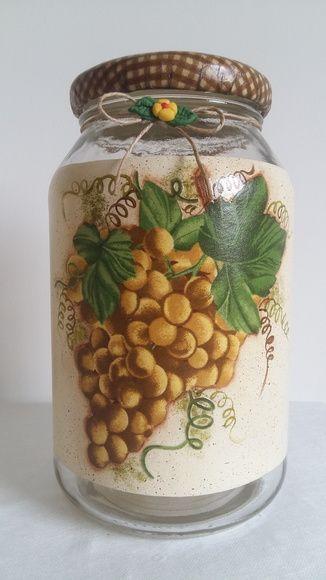 Pote decorado decoupage uvas