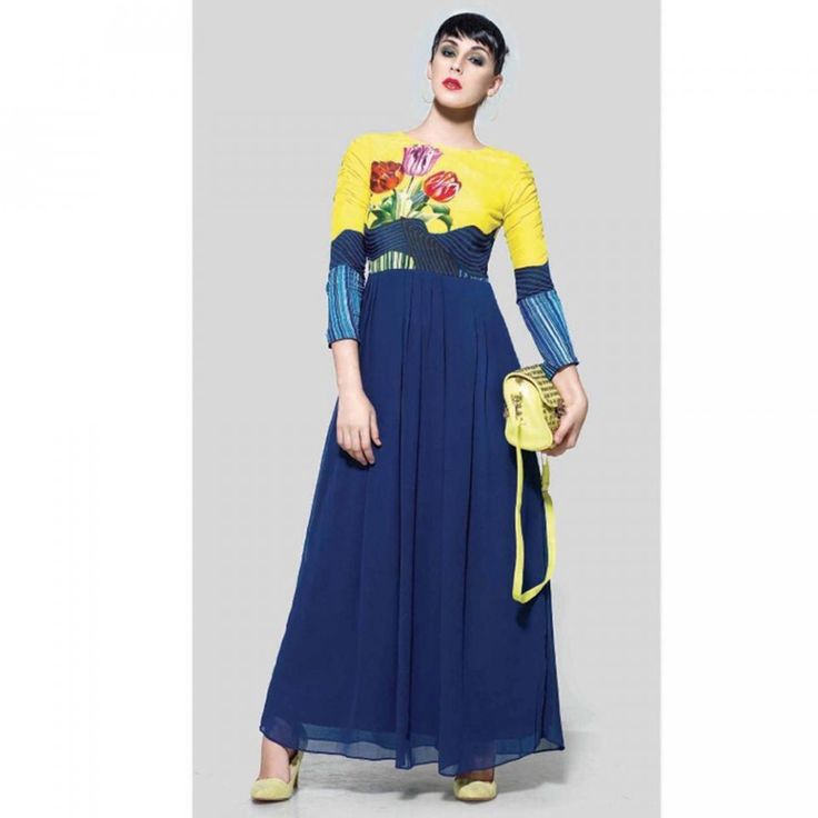 Yellow and Blue Digital Printed Anarkali Suit