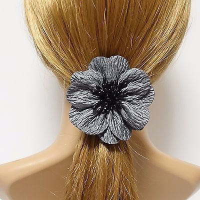 Handmade Wrinkle Petal Pistil Flower Hair Elastic Ponytail Holder