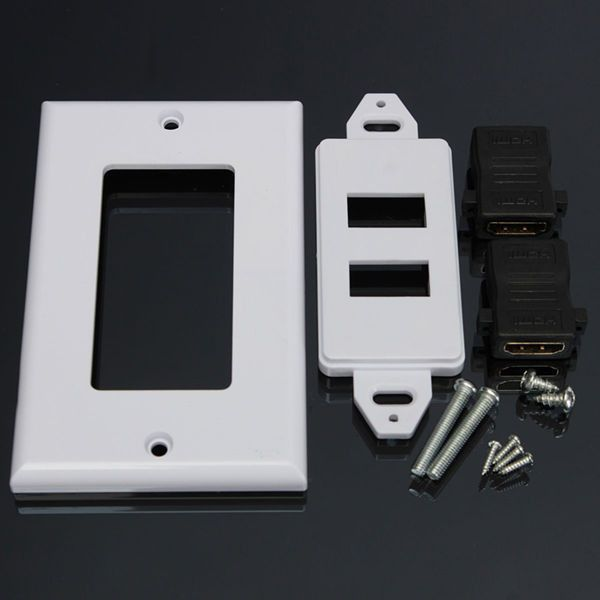 Dual Port Hdmi Wall Face Plate Outlet Socket Panel Media Audio Video Hdtv 1080p. Description:                     Dual Port HDMI Wall Face Plate Outlet Socket Panel Media Audio Video HDTV 1080P  Specification: Material: ABS plastic Connectors: HDMI Female (front and back) Panel size: 11.3cm x 7cm x 0.7cm/ 4.4' x 2.8' x 0.28'  Features: Attractive decora style white wall plate. High-impact ABS plastic mounting bracket. Wall plate comes with mounting screws for simple installation…