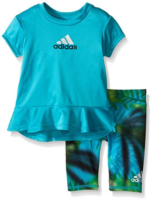 6df26f7efac2 Amazon.com  adidas Toddler Girls  Short Sleeve Tee and Capri Set ...