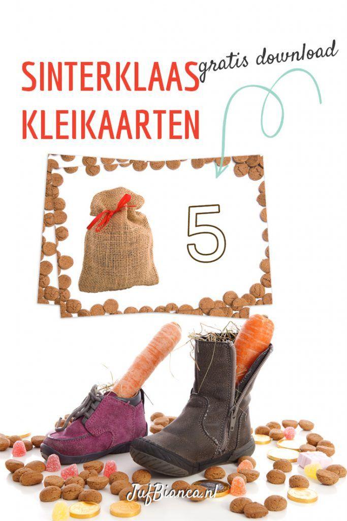 Thema Sinterklaas - kleikaarten gratis download - Juf Bianca