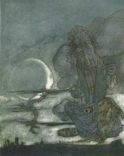 Aesops Fables, The Moon and Her MotherMotherarthur Rackham, Crazy Art, Moon Art, Aesop Fables, Grandmothers Moon, Fables Art, Sunlight Moonlight Starlight, Stars Stuff, The Moon