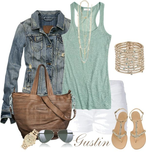 Summer OutfitWhite Shorts, Casual Summer, Summer Day, Summer Outfit, Style, Jeans Jackets, Jean Jackets, Denim Jackets, Summer Night