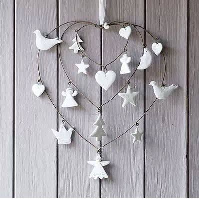 Christmasy wall hanging. Could make with Fimo or air drying clay and old metal coat-hangers.