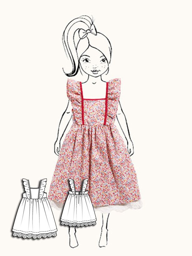 Fun A-line dress for girls gathers at the waist and features riffle sleeves that extend down to the torso. Sweet and playful!