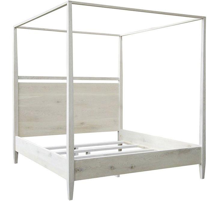 CFC Furniture - Reclaimed washed oak modern 4-poster California King Bed - HW005-CK
