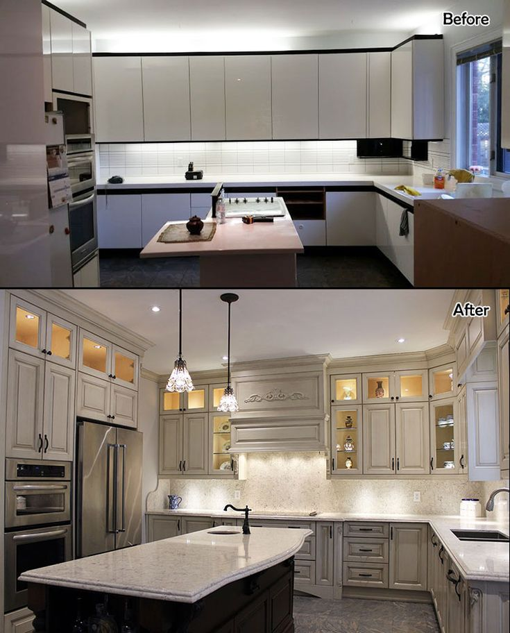 Classic kitchen, made of solid wood. Glazed cabinets and stained island. Built in appliances. Designed and built by JK Toronto 2017