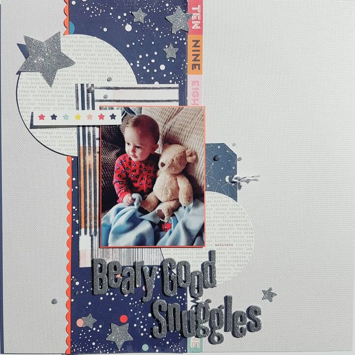 Scrapbook layout using the July Mind the Scrap kit
