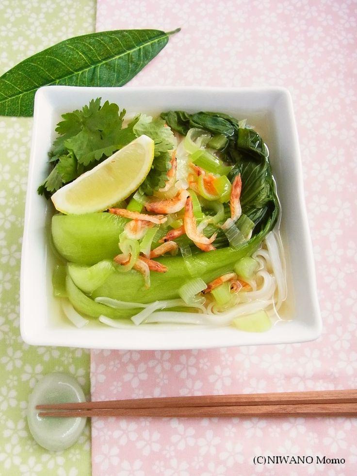 身近な材料で作る簡単&ヘルシーなフォー。豪華な食材をそろえなくても、桜海老からとても良いお出汁が出るので食べごたえは十分です。ライスヌードルがなければ、そうめんなどでも作れます。スープが絶品♪