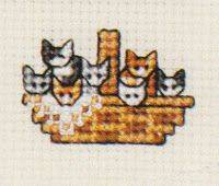 basket of kittens cross stitch finished 1 of 2