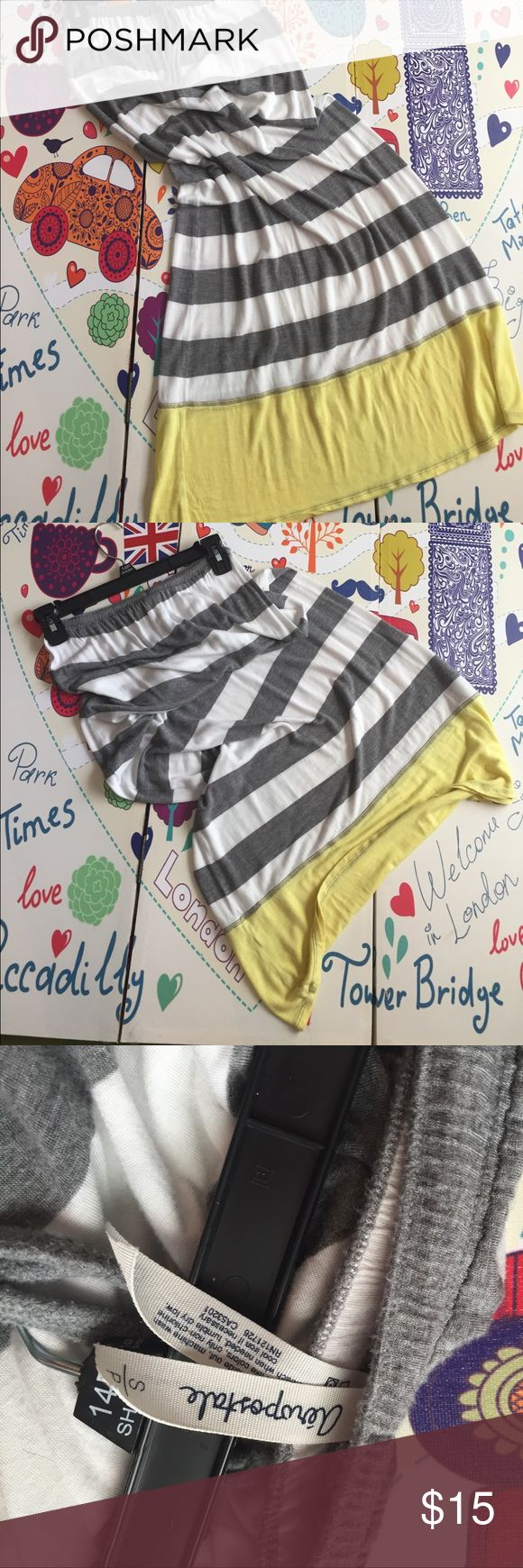 never really wore it maxi skirt grey and white stripes yellow at the bottom Aeropostale Skirts Maxi