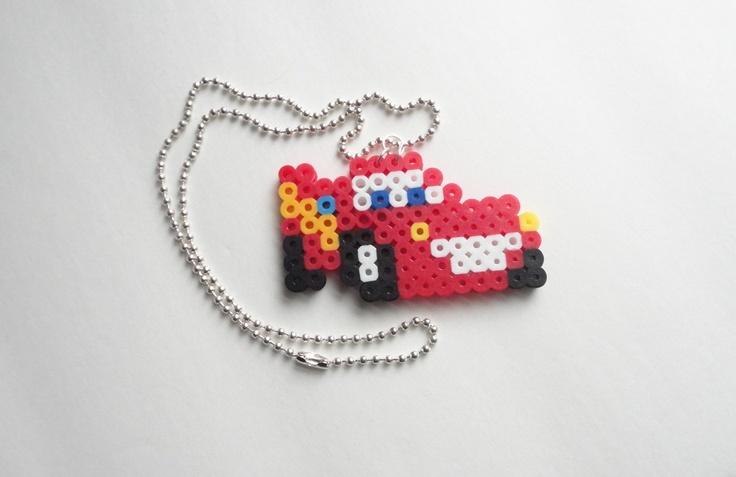 Disney's Cars Lightning McQueen Necklace perler beads. $6.00, via Etsy.