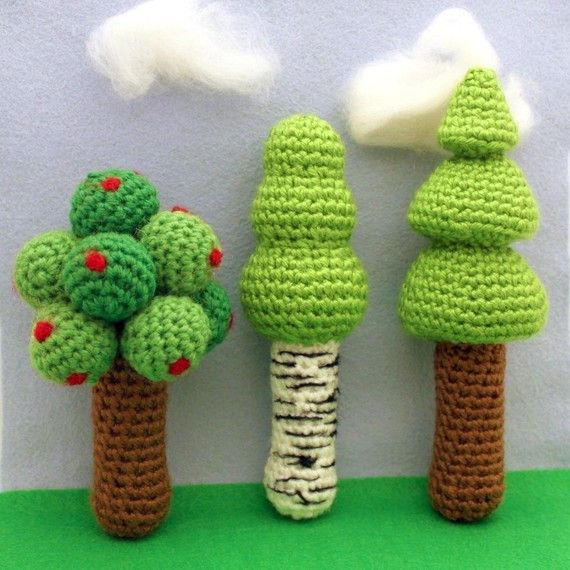 Instant Download Crochet Pattern Three Tree Rattles by Mamachee