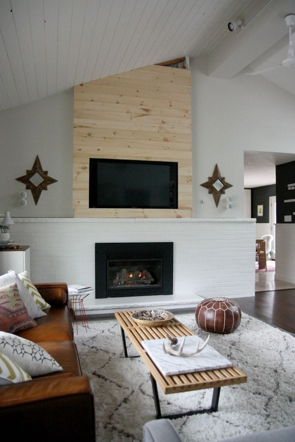 Planking A Tv Or Fireplace Wall With Vaulted Ceiling
