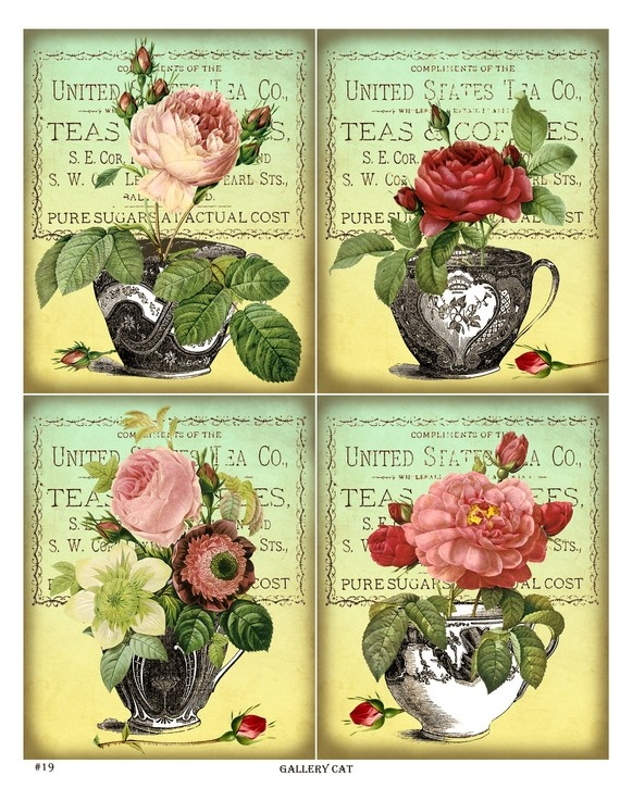 Antique Tea Cups and Roses Digital Collage Sheet von GalleryCat, $3,50