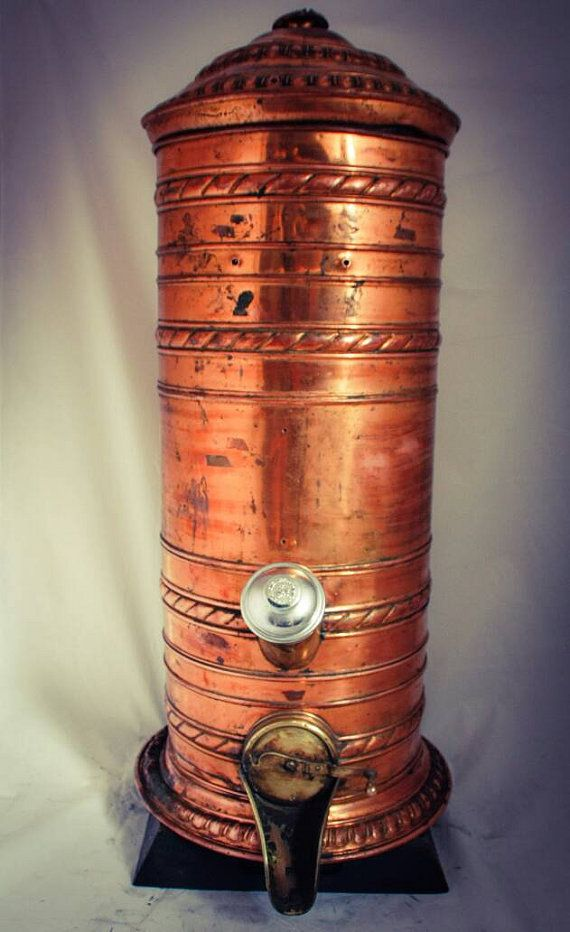 Antique Coffee Bean Dispenser/ Container 1850-1899 Made of Copper Brass. +-90 cm high and 33 cm diam.