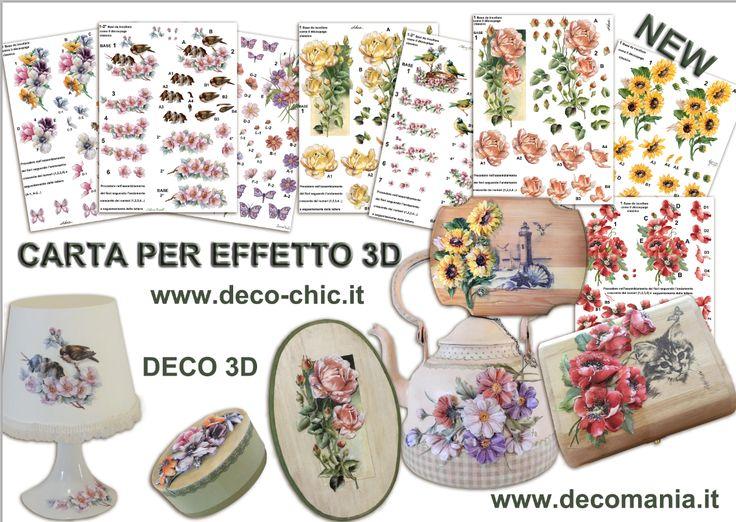 DECO 3D. Decoupage 3D con le nuove carte decomania. store online www.deco-chic.it