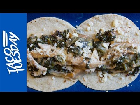 ... | Creamy Chicken and Greens with Roasted Poblano and Caramelized