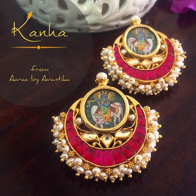 Kanha: Krishna, The beautiful one. This one arrived from the workshop today. This is one collection that has been one of the most tiresome one but also the most satisfying. Always wanted to do a fusion of the miniature paintings and the traditional kundan work. The pieces are be being created one at a time, as it requires a lot of back and forth when so many different techniques of jewelry making are involved. www.facebook.com/AaraabyAvantika