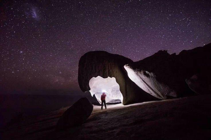 Lighting Up A Remarkble Cave, Kangaroo Island, SA, Oz.