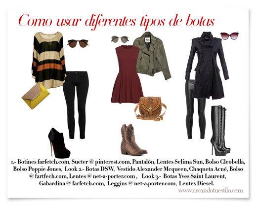 botas, otoño-invierno, look, Los botines, jeans, pantalones bota tubo, faldas, vestidos, zapatos, Las Botas vaqueras, Las botas largas, figu...