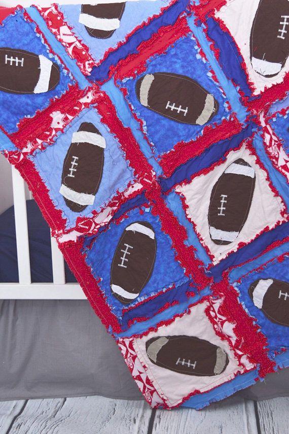 Football Quilt Sport Nursery Decor Blue / Red Crib Bedding #sports #nursery #babyshower #gift