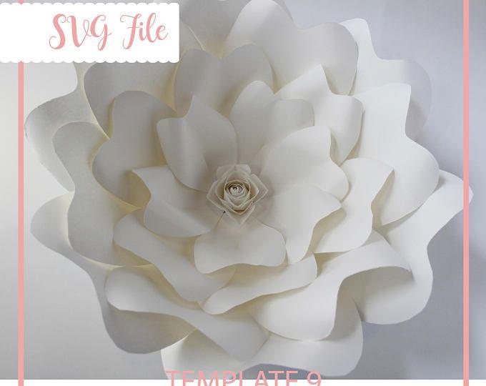 SVG plantilla de flor de papel, plantillas de flores de papel gigantes, flor de papel Digital, flor de papel DIY, Cricut y silueta listo, Base incluida