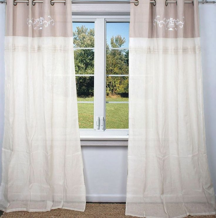 2 White Taupe Linen Hamptons Curtains Shabby French Provincial Chic Pair Drapes