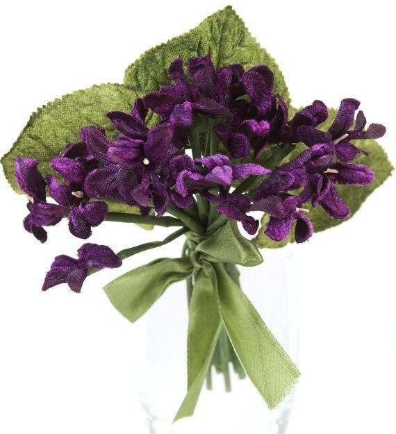 Viola Velvet Posy in Meringue color holiday decoration millinery flowers vintage looking velvet flower posy