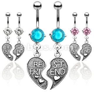 "Pair of ""Best Friend"" Navel Ring @Magen Wiggand this is why you"