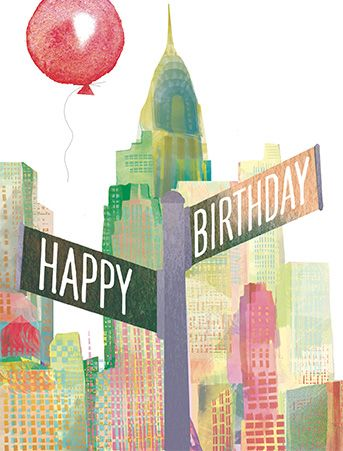 Meet them at the corner of happy and birthday in the big apple! This charming New York birthday greeting card is perfect for sending to an urbane so and so.