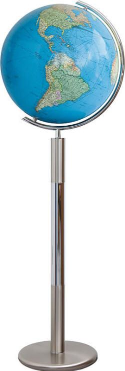 HANOVER Duo - Illuminated World Globe with Floor Stand (Free Shipping) Illuminated world globe features a high quality hand-blown crystal glass sphere, covered precisely by hand with political and physical up-to-date cartography. World globe is mounted in a polished stainless steel semi-meridian, and is supported by a contemporary style floor stand.