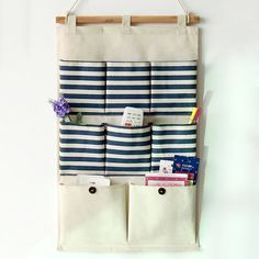 Cute Cotton and Linen Stripe Printed Storage Wall Bag
