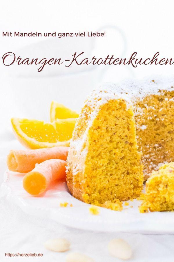 Kuchen Rezepte: Rezept für einen supersaftigen Karottenkuchen mit Orangen und Mandeln. Einfach backen nach einem Rezept von herzelieb #kuchen #orangen #gugelhupf #rezept #foodblog