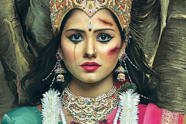 """This is a recreation of the goddess Durga, worshipped for her strength and invincibility. India's Incredibly Powerful """"Abused Goddesses"""" Campaign Condemns Domestic Violence"""