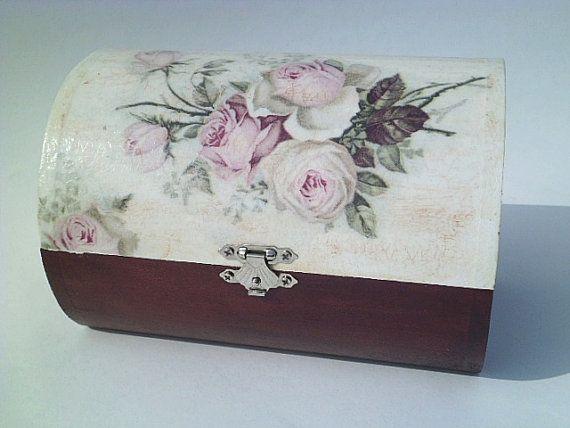 Decoupage Wooden Jewerly Box motif  Bouquet of by croatianproud