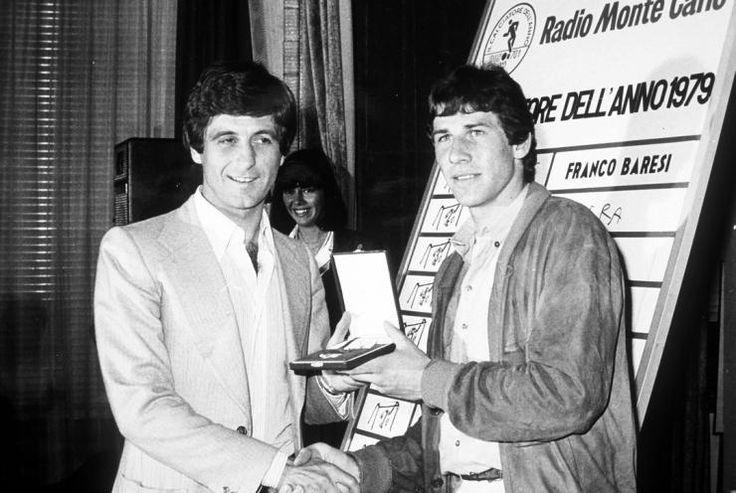 AC Milan's Gianni Rivera anoints Franco Baresi as Player of the Year, 1979. Photo: FourFourTwo Follow @AntiqueFootball //