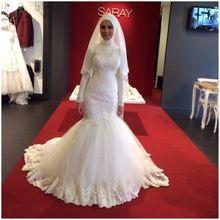 Vestidos de casamento hijab Muçulmano do Don rabic Dubai Vestidos de Noiva 2016 Sereia de alta pescoço até o chão em linha loja chinesa(China (Mainland))