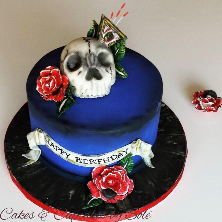 Skull Tattoo Themed Cake Www.facebook.com