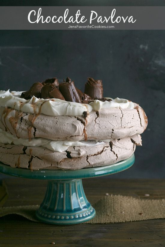 This looks like a cake, but a pavlova is effectively one giant meringue. Top it with whipped cream and hot fudge sauce to make it even more chocolatey.  Get the recipe from Jen's Favorite Cookies.   - Delish.com