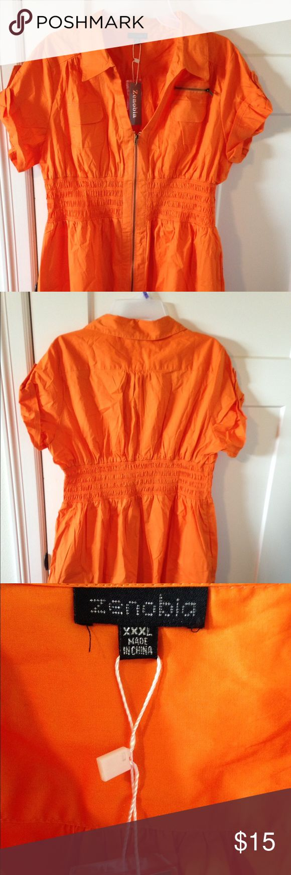 Orange zip up blouse Very cute orange zip up blouse! Cute little pockets and cap sleeves! Fits more like a 2x. New with tags! Zenobia Tops Blouses