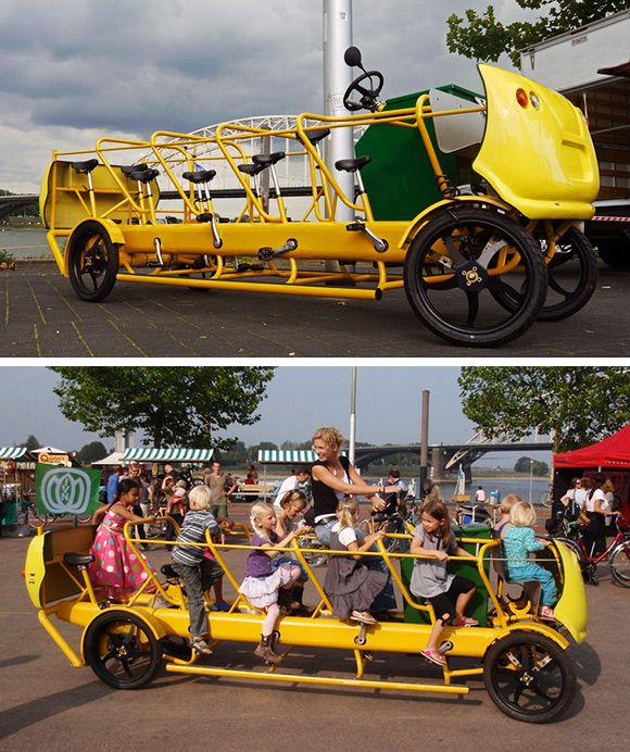 """Pedal Powered School Bus made in the Netherlands by De Café Racer. The bus-bike can accommodate 10 kids and an adult driver."" -- This could be one of the solutions to the childhood obesity problem."