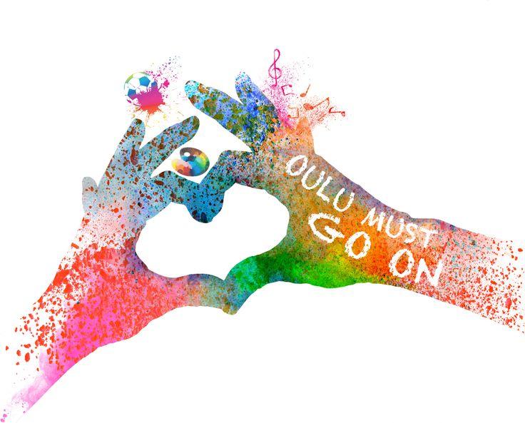 Oulu Must Go On event logo made by Johanna Ollila, 2014.