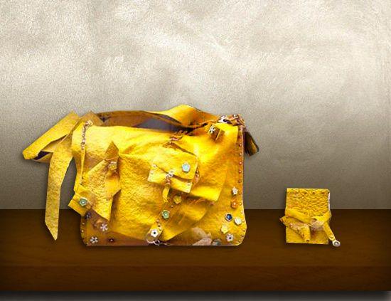 Borsa pelle gialla