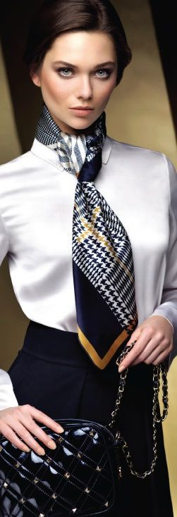 strong clean lines... don't use a scarf and never a tire on an item shirt.  Think of the dicotomy!