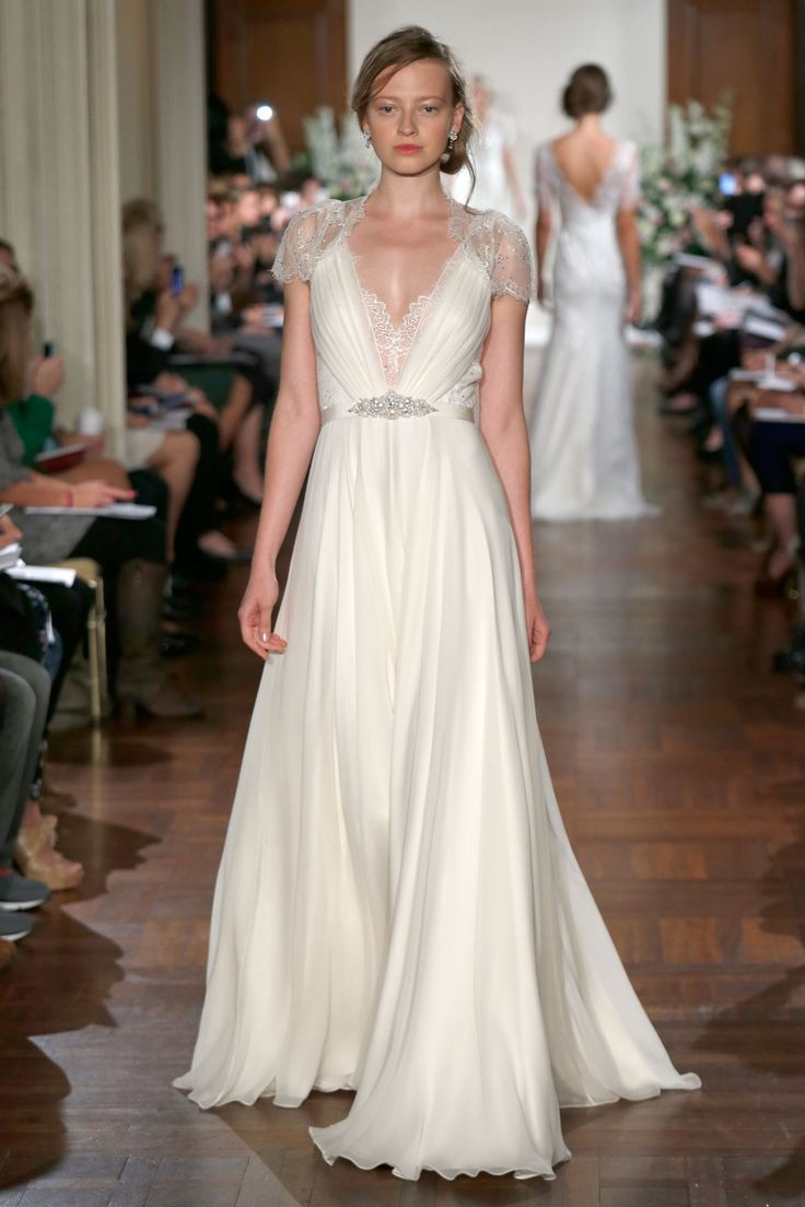 Jenny Packham – Bridal Fall 2013    TAGS:Embroidered, Floor-length, Short sleeves, Train, White, Cream, Ivory, Jenny Packham, Jewelled, Lace, Silk, Tulle