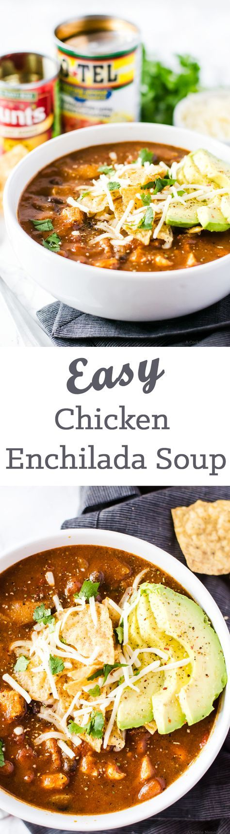 Easy Chicken Enchilada Soup - No one will believe this soup was finished in under 30 minutes! It is rich, full of flavor, and bound to be your new favorite weeknight dinner recipe.
